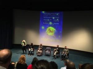 {Q&A panel discussion following the screening, from left: Debbie Plotnik (MHA), Paul Dalio, Dr. Kay Jamison, Paul Gionfriddo (MHA President), Luke Kirby}